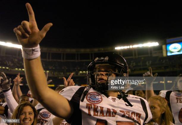 Texas Tech quarterback Sonny Cumbie celebrates 4531 victory over Cal in the Pacific Life Holiday Bowl at Qualcomm Stadium in San Diego Calif on...