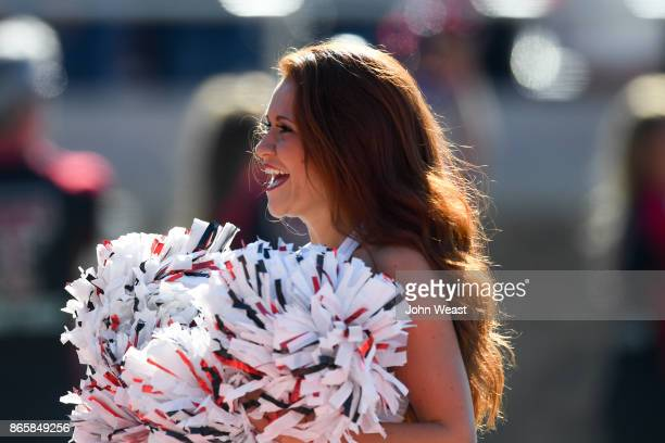 Texas Tech Red Raider cheerleader firing up the crowd before the game against the Iowa State Cyclones on October 21 2017 at Jones ATT Stadium in...