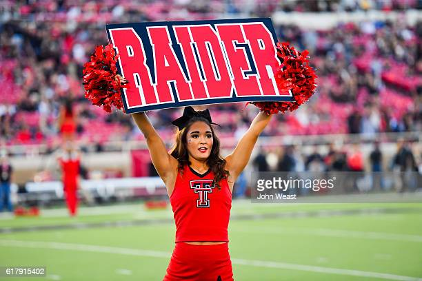 Texas Tech Red Raiders cheerleader before the game between the Texas Tech Red Raiders and the Oklahoma Sooners on October 22, 2016 at AT&T Jones...