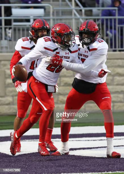 Texas Tech Red Raiders defensive back Adrian Frye celebrates after intercepting a pass in the third quarter of a Big 12 football game between the...