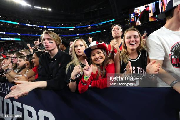Texas Tech Red Raiders fans cheer prior to the 2019 NCAA men's Final Four National Championship game against the Virginia Cavaliers at US Bank...