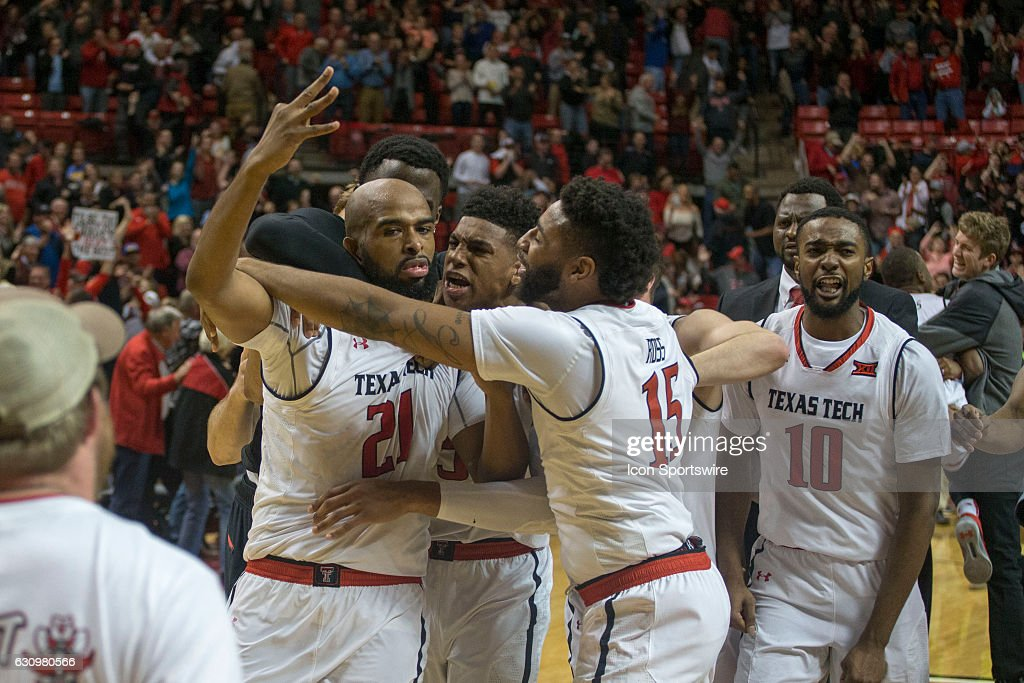 Texas Tech Red Raiders forward Anthony Livingston (21) celebrates after hitting the wining 3-point shoot in overtime during the game between West Virginia Mountaineers and Texas Tech Red Raiders on January 03, 2017 at United Supermarkets Arena in Lubbock, Texas.