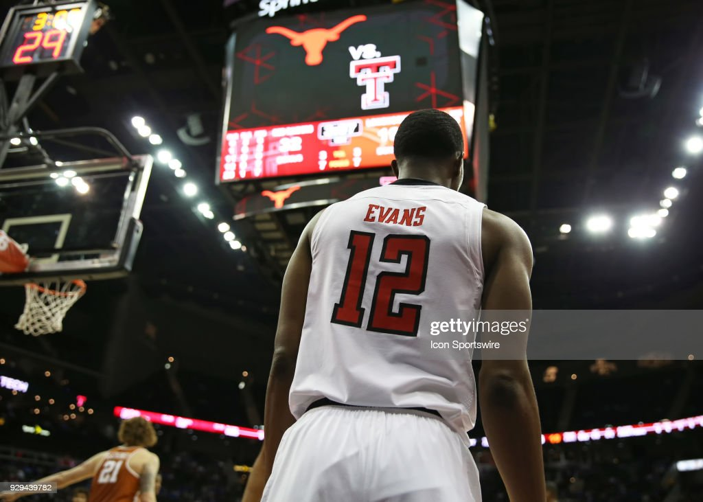 Texas Tech Red Raiders guard Keenan Evans (12) prepares to inbounds the ball in the first half of a quarterfinal game in the Big 12 Basketball Championship between the Texas Longhorns and Texas Tech Red Raiders on March 8, 2018 at Sprint Center in Kansas City, MO.