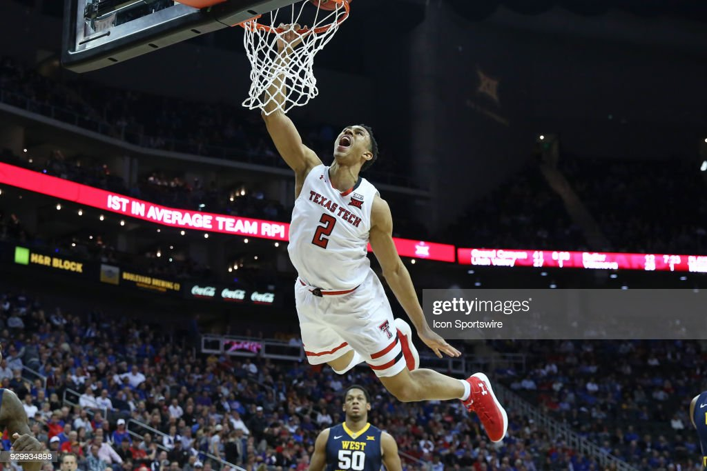 Texas Tech Red Raiders guard Zhaire Smith (2) goes high for a dunk but was called for a charge in the first half of a semifinal game in the Big 12 Basketball Championship between the West Virginia Mountaineers and Texas Tech Red Raiders on March 9, 2018 at Sprint Center in Kansas City, MO.