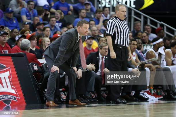 Texas Tech Red Raiders head coach Chris Beard in the first half of a semifinal game in the Big 12 Basketball Championship between the West Virginia...
