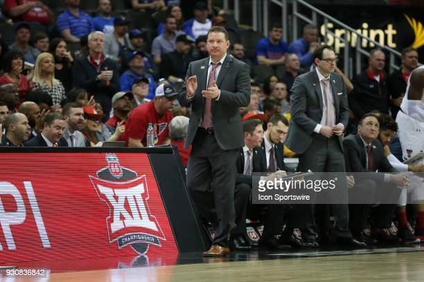 Texas Tech Red Raiders head coach Chris Beard in the second half of a semifinal game in the Big 12 Basketball Championship between the West Virginia...