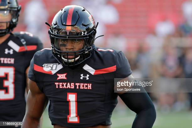 Texas Tech Red Raiders Jordyn Brooks warms up before the college football game between the Texas Tech Red Raiders and the University of Texas El Paso...