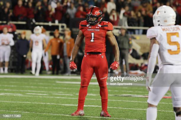 Texas Tech Red Raiders linebacker Jordyn Brooks celebrates after a sack during the college football game between the University of Texas Longhorns...
