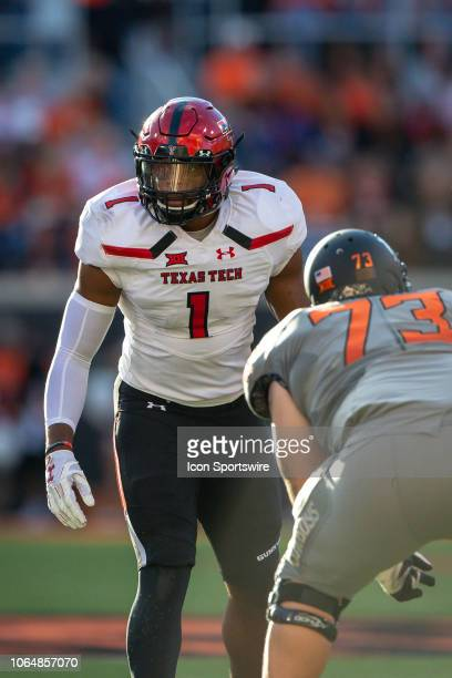 Texas Tech Red Raiders linebacker Jordyn Brooks ready for the play during the college Big 12 conference football game against the Oklahoma State...