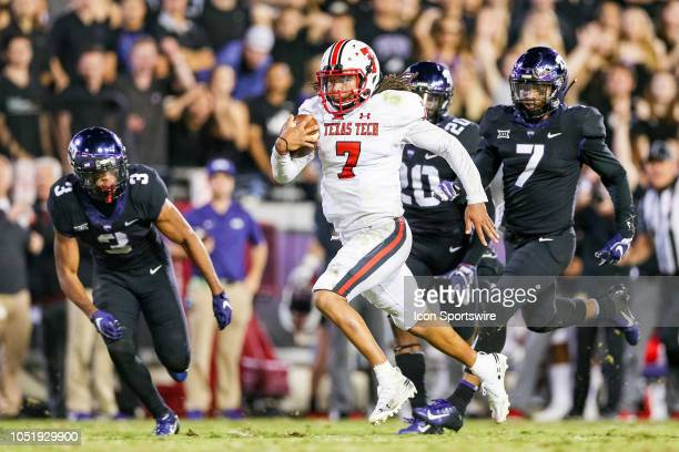 Texas Tech Red Raiders quarterback Jett Duffey breaks free for a game winning touchdown run during the game between the Texas Tech Red Raiders and...