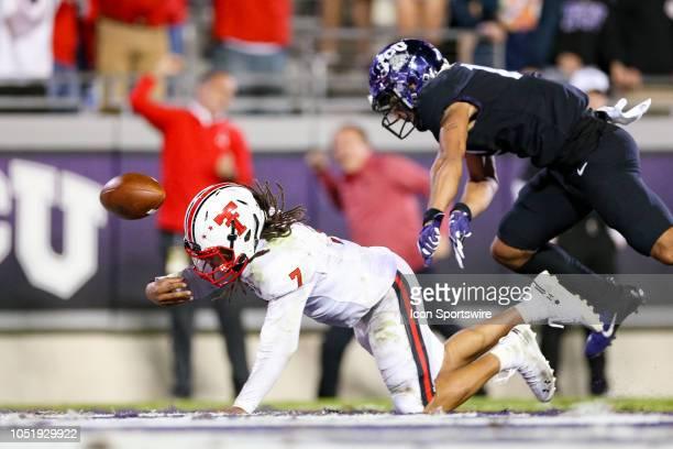 Texas Tech Red Raiders quarterback Jett Duffey breaks free for a game winning touchdown run during the game between the Texas Tech Red Raiders and...
