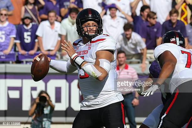 Texas Tech Red Raiders quarterback Patrick Mahomes II drops back for a pass during the NCAA Big-12 football game between the Texas Tech Red Raiders...