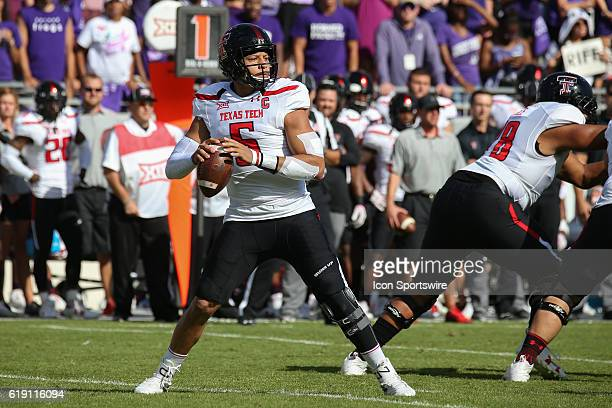 Texas Tech Red Raiders quarterback Patrick Mahomes II drops back for a pass during the NCAA Big12 football game between the Texas Tech Red Raiders...