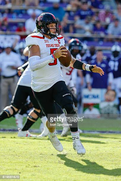 Texas Tech Red Raiders quarterback Patrick Mahomes II looks for running room downfield during the game between the TCU Horned Frogs and the Texas...