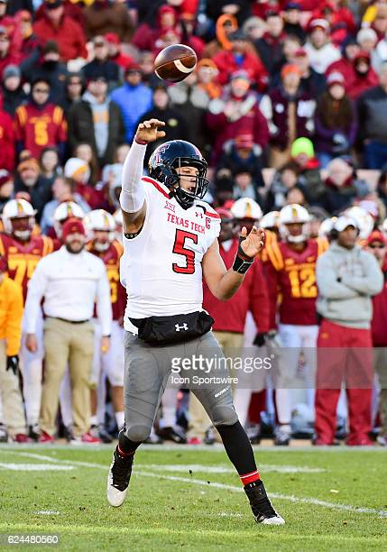 Texas Tech Red Raiders quarterback Patrick Mahomes II makes a pass during the first half of an NCAA football game between the Texas Tech Red Raiders...