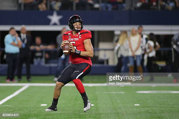 Texas Tech Red Raiders quarterback Patrick Mahomes II passes during the NCAA football game between Baylor University and Texas Tech on November 25 at...