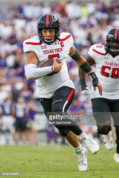 Texas Tech Red Raiders quarterback Patrick Mahomes II rushes for a touchdown in overtime of the NCAA Big12 football game between the Texas Tech Red...