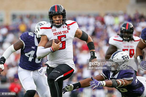 Texas Tech Red Raiders quarterback Patrick Mahomes II rushes for a touchdown in overtime of the NCAA Big-12 football game between the Texas Tech Red...