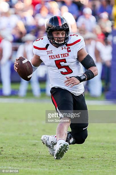 Texas Tech Red Raiders quarterback Patrick Mahomes II scrambles during the NCAA Big-12 football game between the Texas Tech Red Raiders and the TCU...