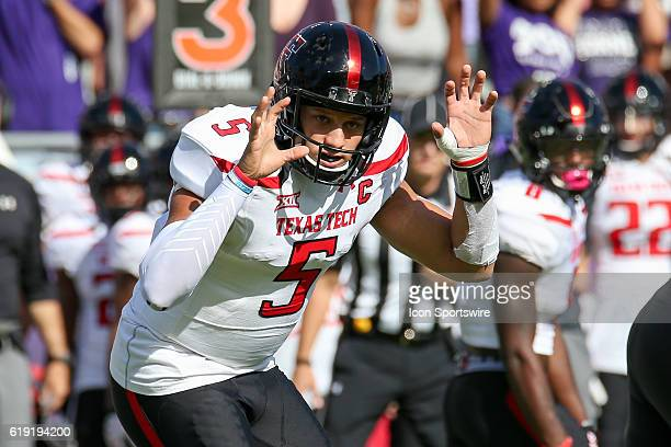 Texas Tech Red Raiders quarterback Patrick Mahomes II signals to his receivers during the NCAA Big12 football game between the Texas Tech Red Raiders...