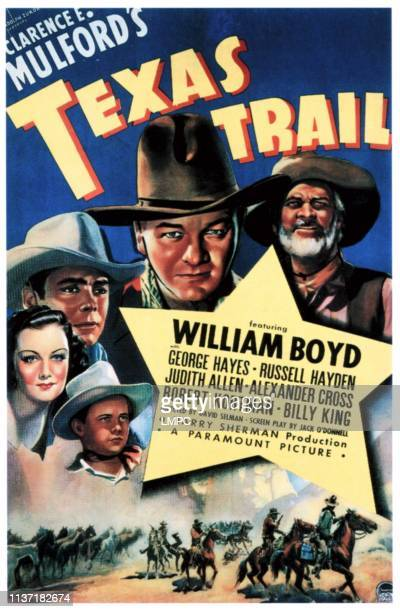 Texas Trail poster clockwise from bottom left Billy King Judith Allen Russell Hayden Wililam Boyd George 'Gabby' Hayes 1937