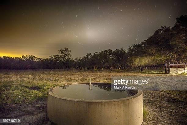 Texas water trough at nightfall