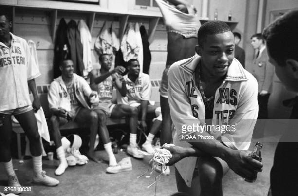 Texas Western College celebrates after defeating Kentucky 72-65 in the National Championship game in the 1966 NCAA Photos via Getty Images Men's...