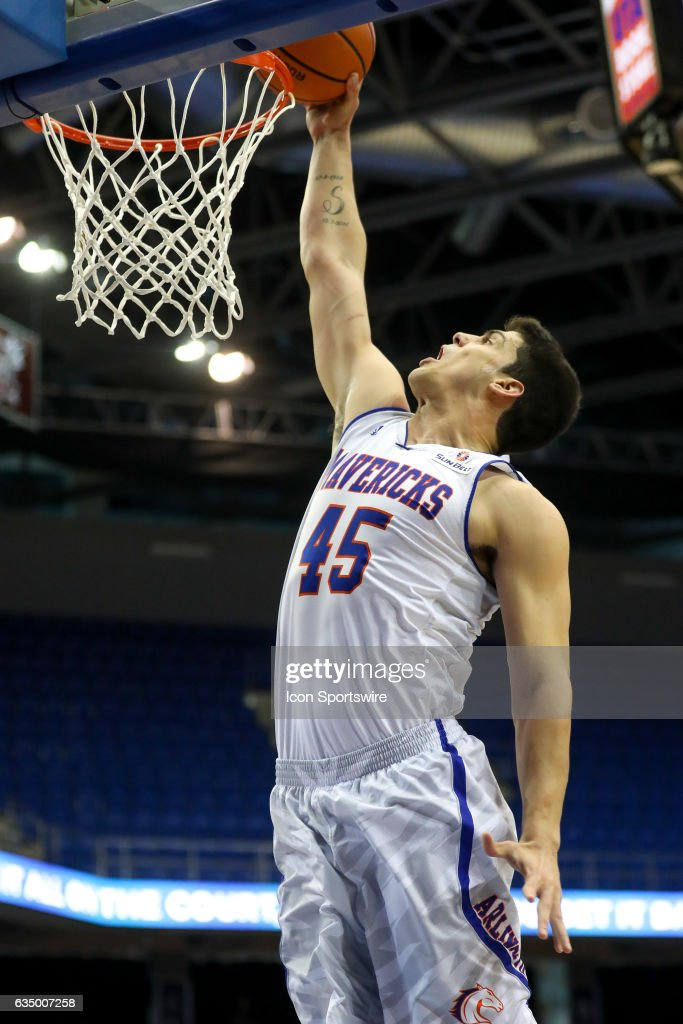 Texas-Arlington Mavericks forward Jorge Bilbao (45) during the college basketball game against the Arkansas State Red Wolves at College Park Center on February 11, 2017 in Arlington, Texas
