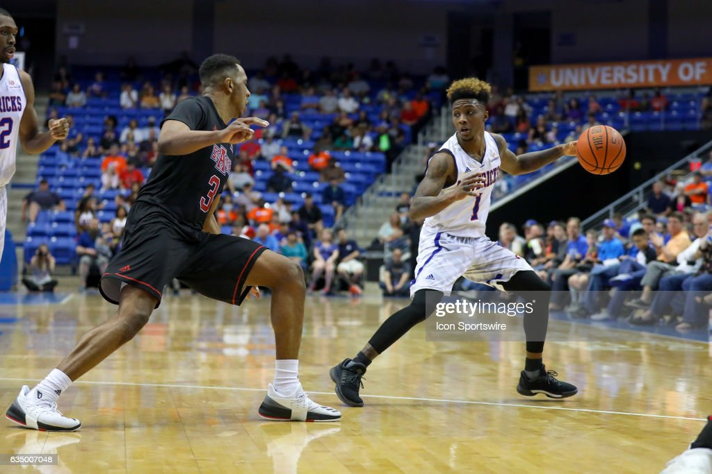 Texas-Arlington Mavericks guard Erick Neal (1) steps back from a defender during the college basketball game against the Arkansas State Red Wolves at College Park Center on February 11, 2017 in Arlington, Texas