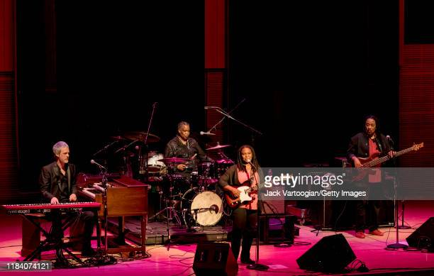 Texasborn singersongwriter Ruthie Foster performs on guitar and vocals with her band with Scott Miller on keyboards and Hammond B3 organ Samantha...
