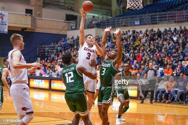 TexasSan Antonio Roadrunners forward Byron Frohnen shoots the ball during the NCAA game between the UAB Blazers and the UTSA Roadrunners on January...