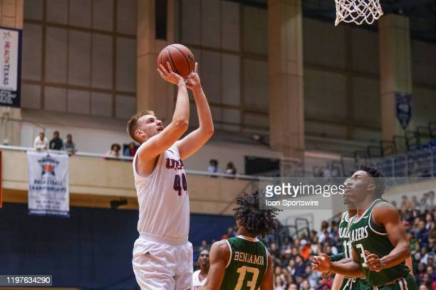 TexasSan Antonio Roadrunners forward Luka Barisic shoots during the NCAA game between the UAB Blazers and the UTSA Roadrunners on January 30 2020 at...
