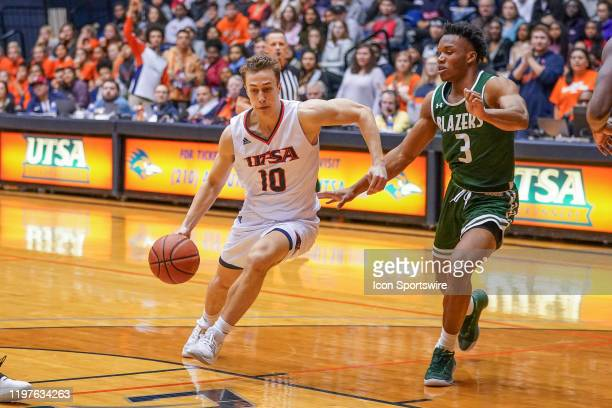 TexasSan Antonio Roadrunners guard Erik Czumbel drives to the basket during the NCAA game between the UAB Blazers and the UTSA Roadrunners on January...