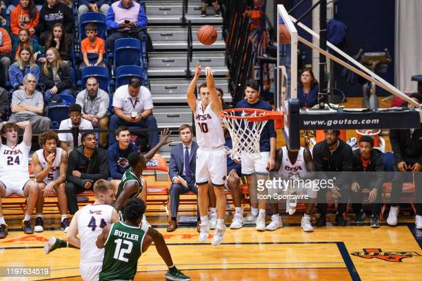 TexasSan Antonio Roadrunners guard Erik Czumbel takes a three point shot during the NCAA game between the UAB Blazers and the UTSA Roadrunners on...