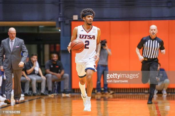 TexasSan Antonio Roadrunners guard Jhivvan Jackson brings the ball up the court during the NCAA game between the UAB Blazers and the UTSA Roadrunners...