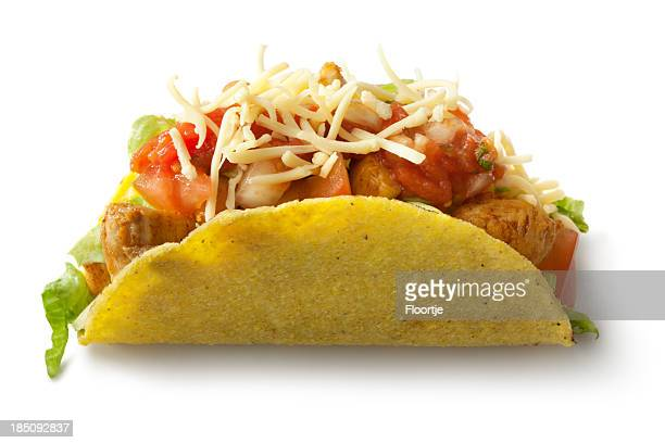 TexMex Food: Chicken Taco Isolated on White Background