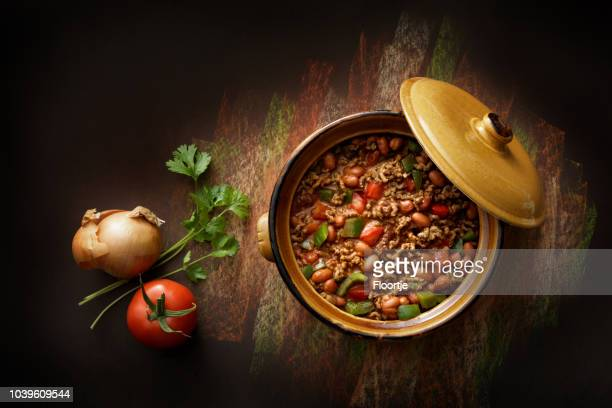 texmex food: chili con carne still life - chili stock photos and pictures
