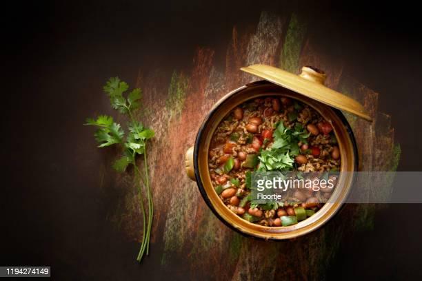 alimentotex: chili con carne ainda vida - feijão - fotografias e filmes do acervo