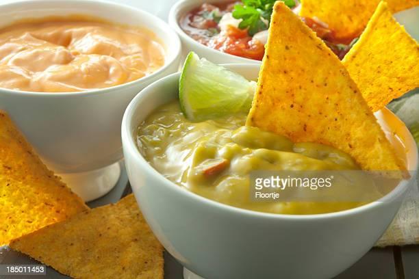 TexMex Food: Guacamole, Cheese Dip, Salsa and Nachos