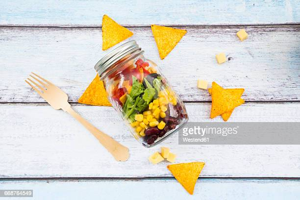 tex-mex salad in glass - jars with salad stock pictures, royalty-free photos & images