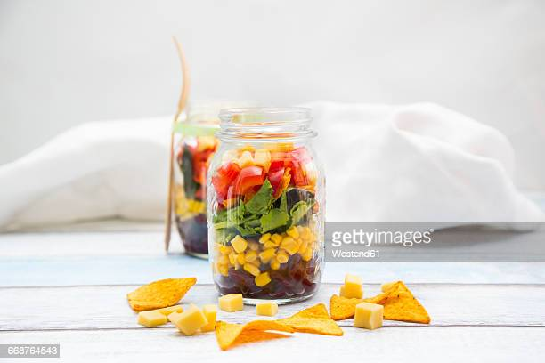 tex-mex salad in glasses - jars with salad stock pictures, royalty-free photos & images