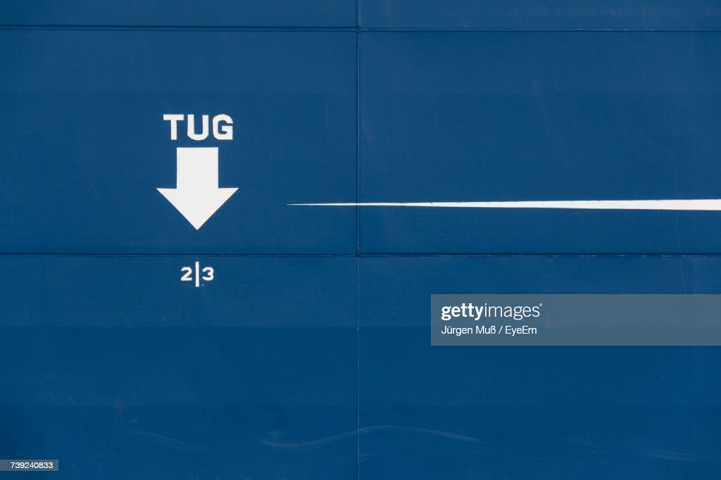 Text And Arrow Symbol On Blue Ship Stock Photo Getty Images