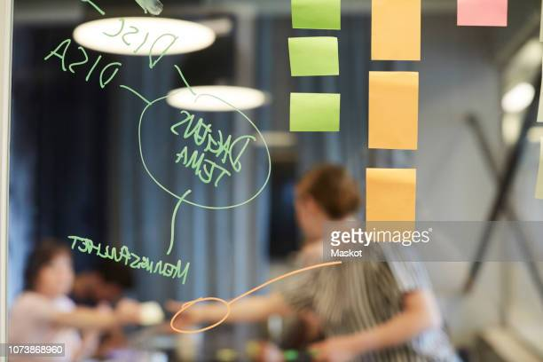 text and sticky notes on glass with business people in background at office - employee engagement stock pictures, royalty-free photos & images