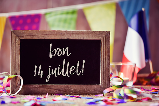 text bon 14 juillet, happy 14 july in french 808365214