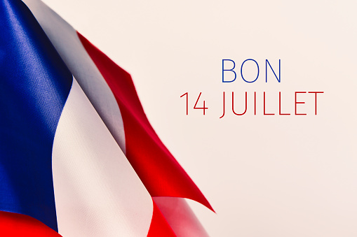 text bon 14 juillet, happy 14 july in French 810579026