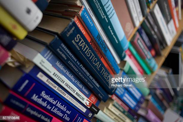 Text books about maths probablity and risk belonging to mathematician and Risk guru Professor David Spiegelhalter at the Centre for Mathematical...