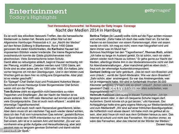 Text Information by Doreen Hopp for the 'Nacht der Medien' on August 29 2014 in Hamburg Germany