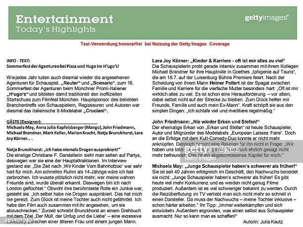 Text Information by Julia Kautz for the 'Sommerfest der Agenturen' during the Munich Film Festival 2014 at Hugo'S PizzaBarLounge on June 28 2014 in...