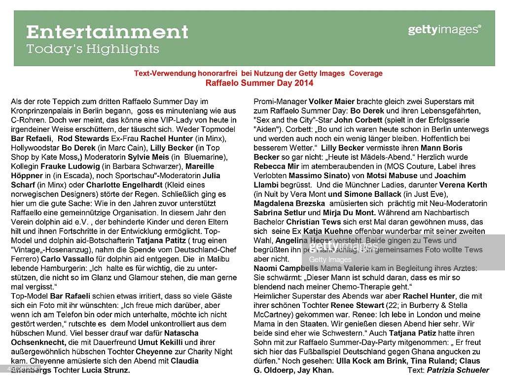 Text Information by Patrizia Schueler for Raffaello Summer Day 2014 at Kronprinzenpalais on June 21, 2014 in Berlin, Germany.