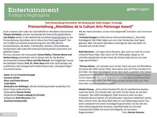 Text Information by Patrizia Schueler for the Montblanc De La Culture Arts Patronage Award 2014 at Hotel De Rome in Berlin